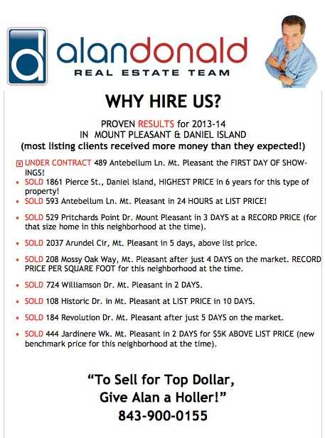 Alan Donald Realtor Track Record Listings in Mount Pleasant SC