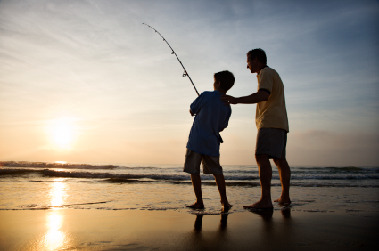 Man & Son Fishing at Beach