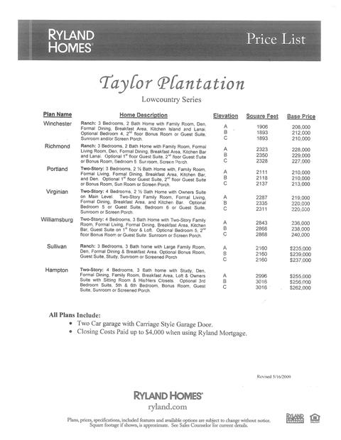Taylor Plantation Summerville SC Price List Lowcountry Series